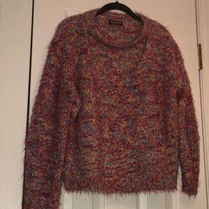 Multi colored fuzzy sweater